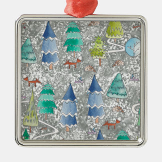 Water colour winter forest christmas ornament
