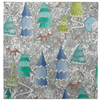 Water colour winter forest napkin
