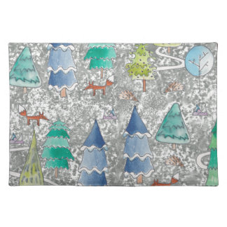 Water colour winter forest placemat