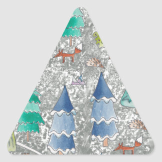 Water colour winter forest triangle sticker