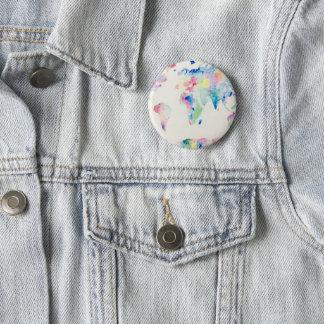 Water colour world 6 cm round badge