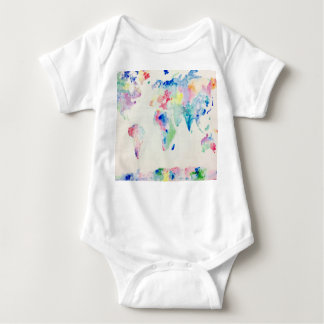 Water-colour  world map baby bodysuit