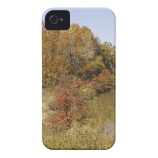 WATER CONTROL DAM AND AUTUMN TREES iPhone 4 CASE