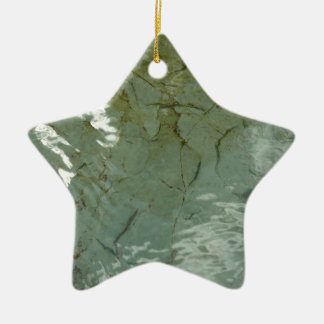 Water-Covered Rock Slab Abstract Nature Photo Ceramic Star Decoration