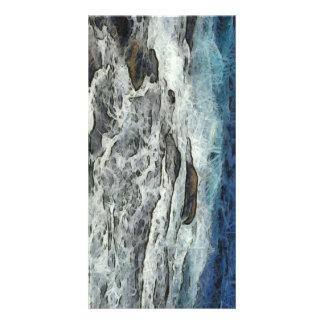Water crashing over rocks photo card template