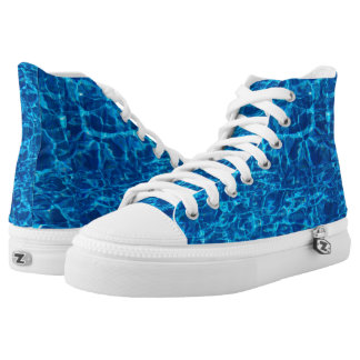 Water Design High Top Tennies Tennis Shoes Printed Shoes