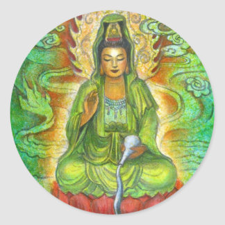 """Water Dragon"" Kuan Yin Classic Round Sticker"