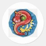 Water Dragon Round Stickers