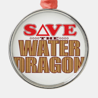 Water Dragon Save Silver-Colored Round Decoration