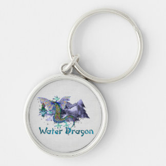 Water Dragon Silver-Colored Round Key Ring
