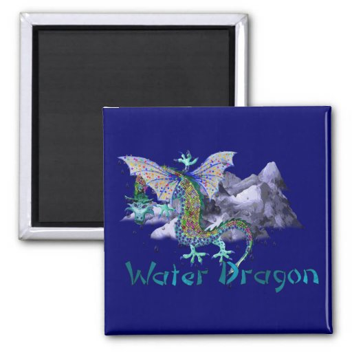Water Dragon Square Magnet