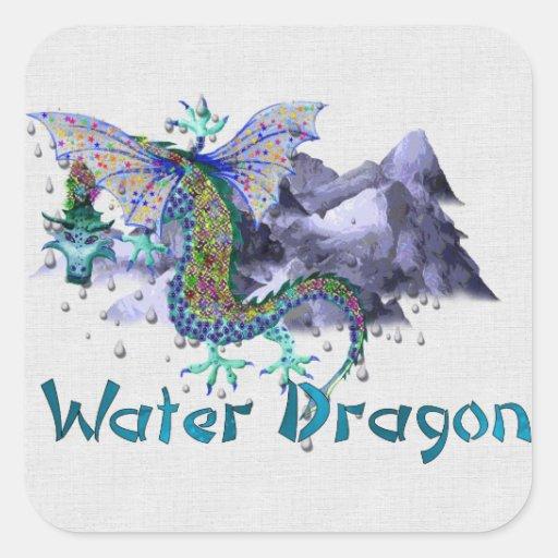 Water Dragon Square Sticker