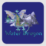 Water Dragon Square Stickers