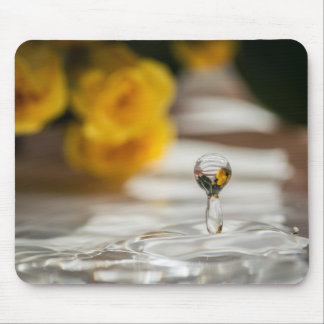 WATER DROP AND YELLOW ROSES by Michelle Diehl Mouse Pad