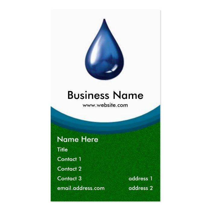Water Drop business card -green grass