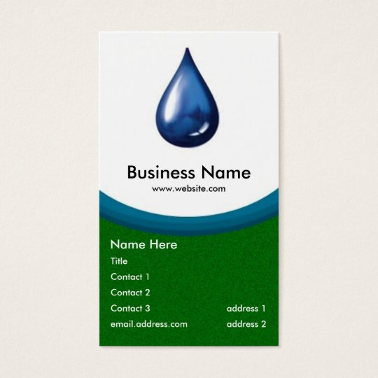 Water Drop business card -green grass