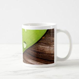 water drop on leaves basic white mug