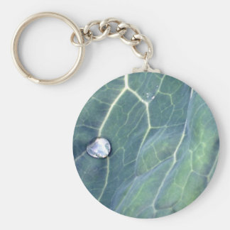 Water Droplet on a Cabbage Leaf Basic Round Button Key Ring