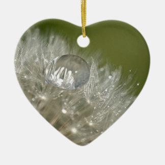 Water droplet on a dandelion ceramic heart decoration