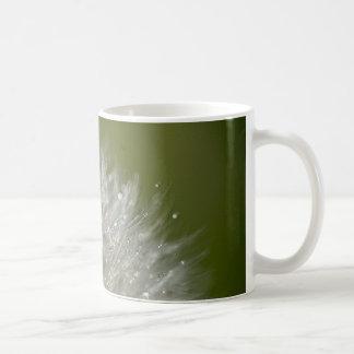Water droplet on a dandelion coffee mug