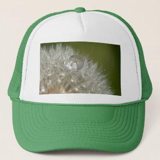 Water droplet on a dandelion trucker hat