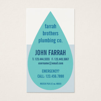 Water Droplet Plumber's Business Card Template