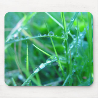 Water Droplets on Grass Mouse Mat