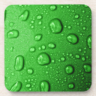 Water droplets on green background, cool & wet coaster
