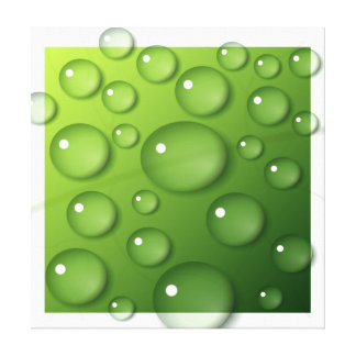 Water Droplets on Green Square Background Canvas Print