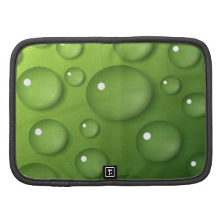 Water Droplets on Green Square Background Folio Planner