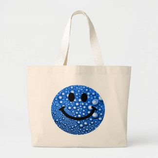 Water droplets smiley large tote bag