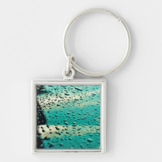 Water drops Silver-Colored square key ring