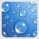 Water drops on blue square sticker