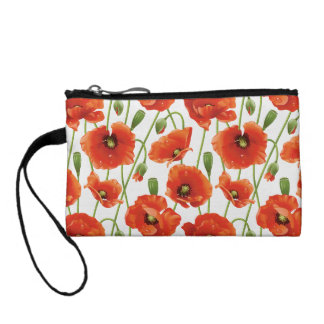 water drops on cute poppies coin wallet