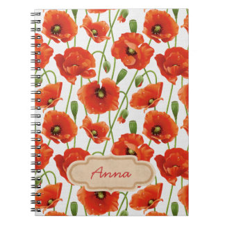 water drops on cute poppies notebooks