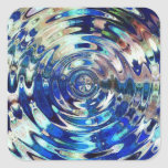 WATER Element Ripple Pattern Square Stickers