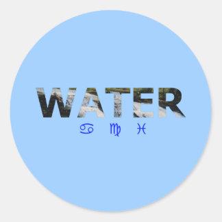 Water Element with Zodiac Signs Round Sticker