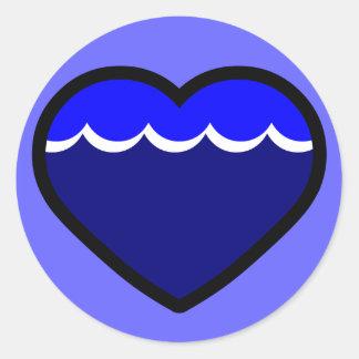 Water Elemental Heart Classic Round Sticker