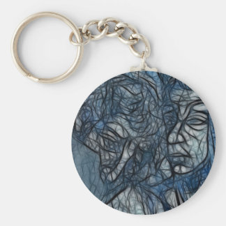 Water Enigma Basic Round Button Key Ring