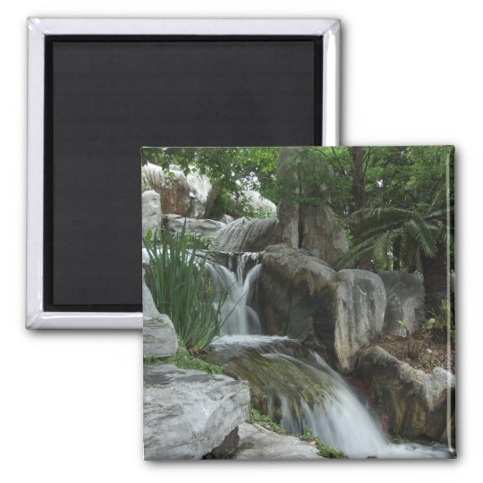 Water Flowing Through The Stones Square Magnet