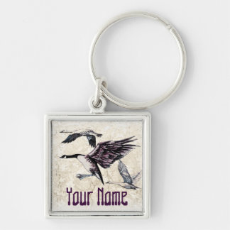 Water Fowl Silver-Colored Square Key Ring