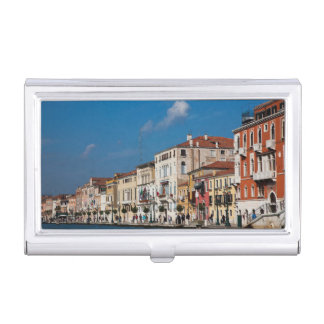 Water Front Along The Grand Canal Of Venice Business Card Holder
