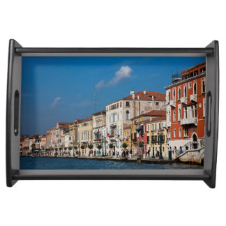 Water Front Along The Grand Canal Of Venice Serving Tray