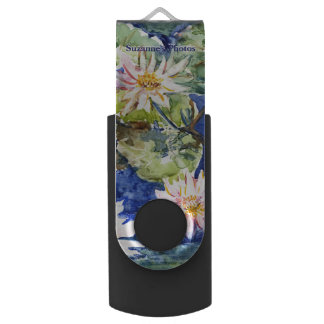 Water Garden in Watercolor with Your Name USB Flash Drive
