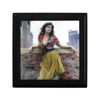 Water Girl Antique Woman painting Small Square Gift Box