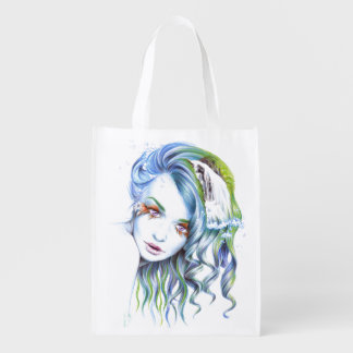 Water girl surreal portrait art Grocery bag