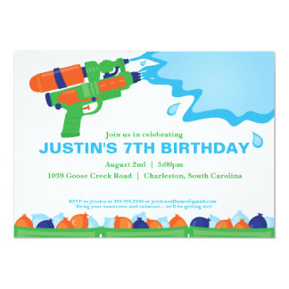 Water Gun Party Invitation