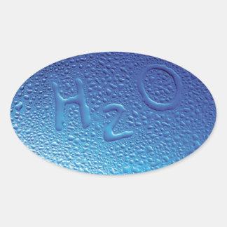 Water, H2O, Blue Oval Sticker