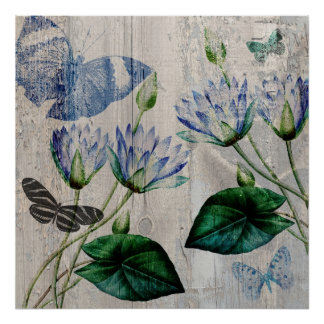 Water Lilies and Butterflies Print