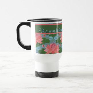 Water Lilies and Dragonflies Custom Travel Mug